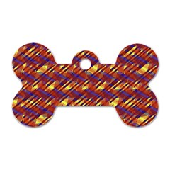 Linje Chevron Blue Yellow Brown Dog Tag Bone (two Sides) by Mariart