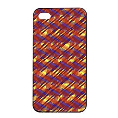 Linje Chevron Blue Yellow Brown Apple Iphone 4/4s Seamless Case (black) by Mariart