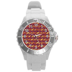 Linje Chevron Blue Yellow Brown Round Plastic Sport Watch (l) by Mariart