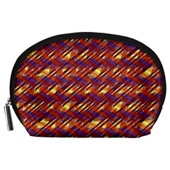 Linje Chevron Blue Yellow Brown Accessory Pouches (large)  by Mariart