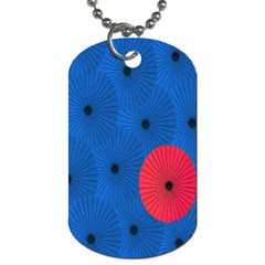 Pink Umbrella Red Blue Dog Tag (two Sides) by Mariart