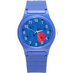 Pink Umbrella Red Blue Round Plastic Sport Watch (s) by Mariart