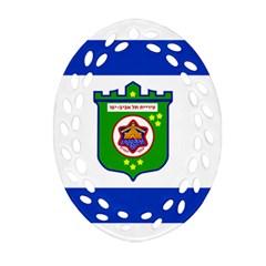Flag Of Tel Aviv  Oval Filigree Ornament (two Sides) by abbeyz71
