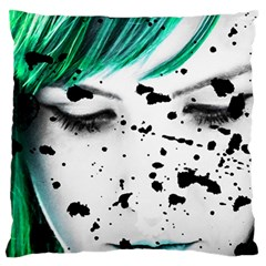 Beauty Woman Close Up Artistic Portrait Large Flano Cushion Case (one Side) by dflcprints