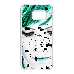 Beauty Woman Close Up Artistic Portrait Samsung Galaxy S7 White Seamless Case by dflcprints