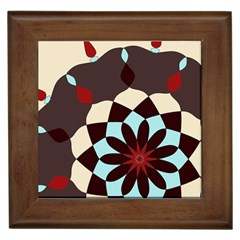 Red And Black Flower Pattern Framed Tiles by theunrulyartist