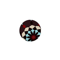 Red And Black Flower Pattern 1  Mini Buttons by theunrulyartist