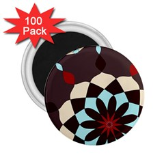 Red And Black Flower Pattern 2 25  Magnets (100 Pack)  by theunrulyartist