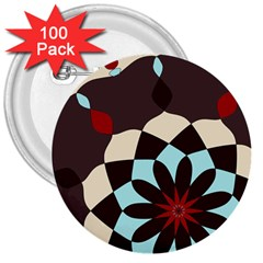 Red And Black Flower Pattern 3  Buttons (100 Pack)  by theunrulyartist