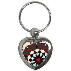 Red And Black Flower Pattern Key Chains (heart)  by theunrulyartist