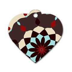 Red And Black Flower Pattern Dog Tag Heart (one Side) by theunrulyartist
