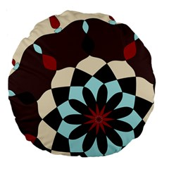 Red And Black Flower Pattern Large 18  Premium Flano Round Cushions by theunrulyartist