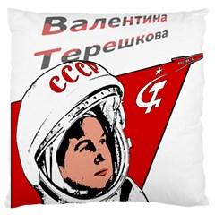 Valentina Tereshkova Large Flano Cushion Case (two Sides) by Valentinaart