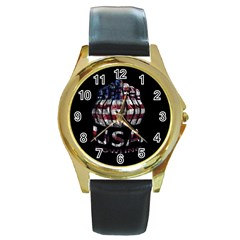 Usa Bowling  Round Gold Metal Watch by Valentinaart