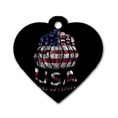 Usa Bowling  Dog Tag Heart (one Side) by Valentinaart