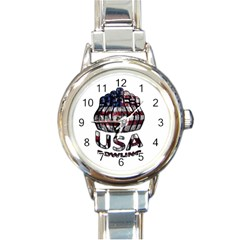 Usa Bowling  Round Italian Charm Watch by Valentinaart