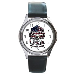 Usa Bowling  Round Metal Watch by Valentinaart