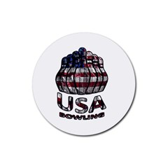 Usa Bowling  Rubber Round Coaster (4 Pack)  by Valentinaart