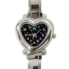 Space Pattern Heart Italian Charm Watch by Valentinaart