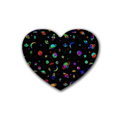 Space Pattern Rubber Coaster (heart)  by Valentinaart