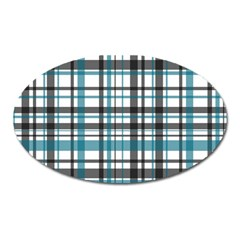 Plaid Pattern Oval Magnet by Valentinaart