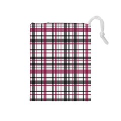 Plaid Pattern Drawstring Pouches (medium)  by Valentinaart