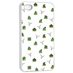 Cactus Pattern Apple Iphone 4/4s Seamless Case (white) by Valentinaart