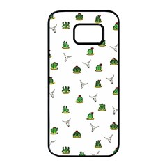 Cactus Pattern Samsung Galaxy S7 Edge Black Seamless Case by Valentinaart