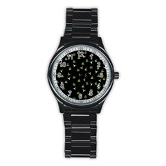 Cactus Pattern Stainless Steel Round Watch by Valentinaart