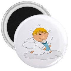 Angel Baby Bottle Cute Sweet 3  Magnets by Nexatart