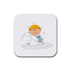 Angel Baby Bottle Cute Sweet Rubber Square Coaster (4 Pack)  by Nexatart