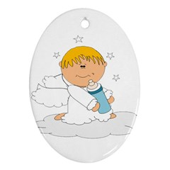 Angel Baby Bottle Cute Sweet Oval Ornament (two Sides) by Nexatart