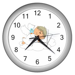 Sweet Dreams Angel Baby Cartoon Wall Clocks (silver)  by Nexatart