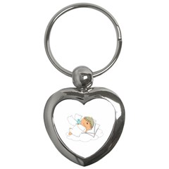 Sweet Dreams Angel Baby Cartoon Key Chains (heart)  by Nexatart