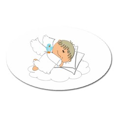 Sweet Dreams Angel Baby Cartoon Oval Magnet by Nexatart