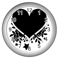 Silhouette Heart Black Design Wall Clocks (silver)  by Nexatart