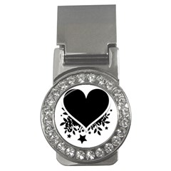 Silhouette Heart Black Design Money Clips (cz)  by Nexatart