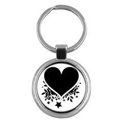 Silhouette Heart Black Design Key Chains (round)  by Nexatart