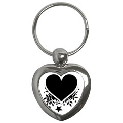 Silhouette Heart Black Design Key Chains (heart)  by Nexatart