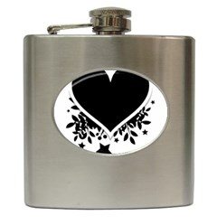 Silhouette Heart Black Design Hip Flask (6 Oz) by Nexatart