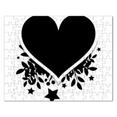 Silhouette Heart Black Design Rectangular Jigsaw Puzzl
