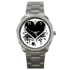 Silhouette Heart Black Design Sport Metal Watch