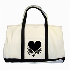 Silhouette Heart Black Design Two Tone Tote Bag by Nexatart