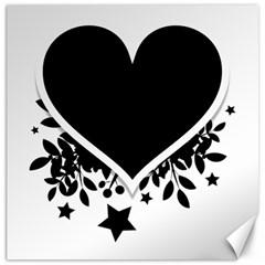 Silhouette Heart Black Design Canvas 16  X 16   by Nexatart