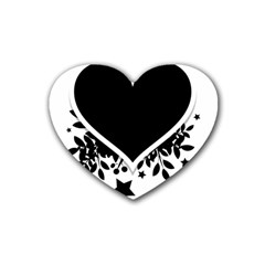 Silhouette Heart Black Design Heart Coaster (4 Pack)  by Nexatart