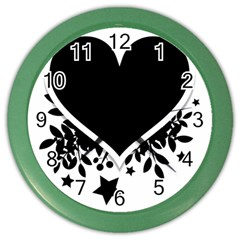 Silhouette Heart Black Design Color Wall Clocks by Nexatart