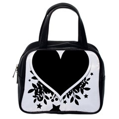 Silhouette Heart Black Design Classic Handbags (one Side) by Nexatart