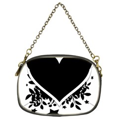 Silhouette Heart Black Design Chain Purses (two Sides)  by Nexatart