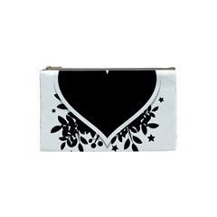 Silhouette Heart Black Design Cosmetic Bag (small)  by Nexatart