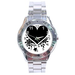 Silhouette Heart Black Design Stainless Steel Analogue Watch by Nexatart
